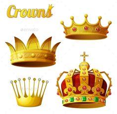 Set 3 of Royal Gold Crowns