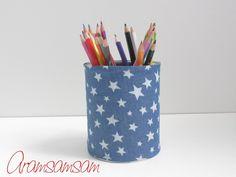 Dose für Stifte, Blumen,... ★Jeans Stars Blue von Aramsamsam auf DaWanda.com