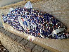 More art from THE Hot Florida Sun, Mexican Sea PROJECT... | The Moore Family Folk Art Pabst Blue Ribbon Art Fish by Folk Artist Alan Moore. Vintage (a few modern) bottle caps and vintage steel soda cans.