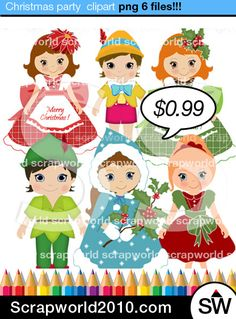 Сostume party clip art christmas kids images set includes boys and girls in Christmas costumes. High quality Illustration. For teachers, cards, web, printable party