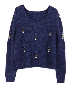 Round Neckline Pearls Decorated Pullover - Knitwear - Clothing