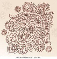 Henna Paisley Mehndi Doodles Abstract Floral Vector Illustration Design Element - 97257683 : Shutterstock