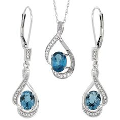 14K White Gold Natural London Blue Topaz Lever Back Earrings
