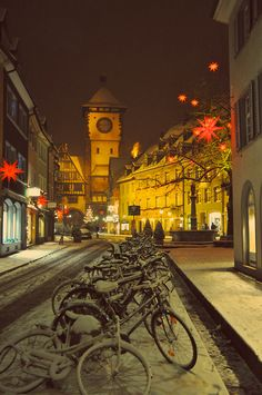 Germany Christmas time with bicycles and snow, Freiburg.