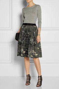 Miu Miu | Cashmere and silk-blend sweater | DAY Birger et Mikkelsen|Embellished cotton-blend skirt|Jason Wu | Leather and suede sandals | Valentino | Va Va Voom leather shoulder bag |