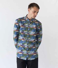 Style & Fit Playfully printed shirt Button down collar All over print with a lightweight Liberty Arist fabric Materials & Details Cotton The fabr Button Down Collar, Ss16, Fabric Material, Liberty, Men Casual, Menswear, Clouds, Journal, Shirt Dress