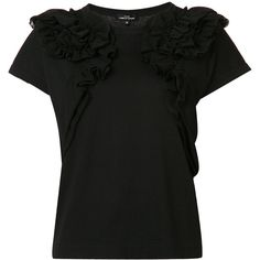 Comme Des Garçons Tricot ruffle detail T-shirt (1 395 AUD) ❤ liked on Polyvore featuring tops, t-shirts, black, ruffle t shirt, flounce tops, ruffle tee, frilly tops and ruffle top