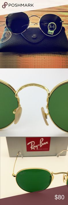 Rayban Round 3447 Dark Green Gold Sunglasses RB 3447 001 gold and dark green raybans round sunglasses. They're hardly worn and sent from my friends. And comes with carrying case, original box and cleaning cloth. But it's a little wide for me. The frame is engraving metal and its round retro design just redefined the mainstream. 100% authentic with RB etched in lens and model number engraved on the temple. Lens' color is dark green, while frame is Gold. Lens' size is 50mm and bridge size is…