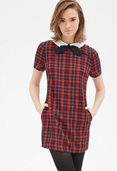"$27.90 Contrast Collar Plaid Shift Dress | Forever <a href=""tel:21 - 2000118808"">21 - 2000118808</a>"