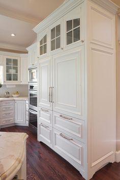 Eagle Wood Home - traditional - kitchen - salt lake city - Barton Woodworks Refrigerator Panels, Refrigerator Cabinet, Subzero Refrigerator, Refrigerator Freezer, Built In Refrigerator, New Kitchen, Kitchen Decor, Kitchen Ideas, 1950s Kitchen