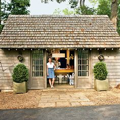 a garage that was converted into a guest house and work space - featured in Southern Living magazine