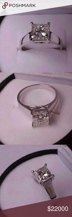 $34000 14k white gold 2.08ct solitair diamond ring Appraisal for  $34000 included.  Beautiful 2.08ct natural solitaire princess cut diamond(6.94mm x 6.88mm x 5.08mm) ,exact weight 2.08ct. Color j, clarity vs1 (bright and sparkle )  Weight 4.2gr  Size 7. Jewelry Rings