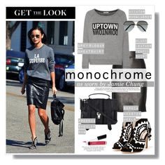"""""""Jamie Chung Monochrome Look"""" by akchesunel ❤ liked on Polyvore featuring Tom Ford, Rebecca Minkoff, Proenza Schouler, Victoria Beckham, Sophia Webster, Bare Escentuals, ANNA, GetTheLook, StreetStyle and monochrome"""