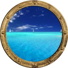 "24"" PortScape Instant Sea Window Sail Boat sailboat #2 Porthole View Wall Graphic Decal Port hole Sticker Mural Home Kids Game Room Art Decor NEW !!"