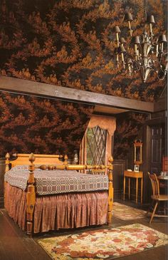 Henry Davis Sleeper applied wallpaper on the ceiling to handle the angles of the eaves in attic bedrooms at Beauport