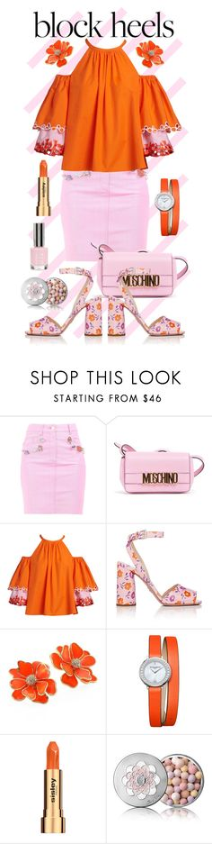 """""""Block Heels - Baby Pink and Orange"""" by giovanina-001 ❤ liked on Polyvore featuring Moschino, Peter Pilotto, Prada, Kenneth Jay Lane, Baume & Mercier, Sisley, Guerlain, Topshop and blockheels"""