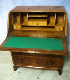 antique art deco burled walnut drop front desk secretary dresser chest of drawer