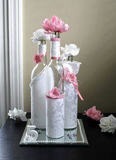 SET3 Decorated Wine Bottle Centerpiece by DazzlingGRACE on Etsy, $45.00