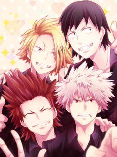Boku no Hero Academia    Kaminari Denki, Hanta Sero, Kirishima Eijirou, Katsuki Bakugou.