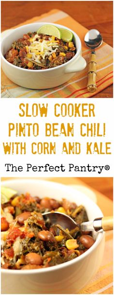 This slow cooker spicy pinto bean chili with corn and kale won't win any beauty contest, but it's a hearty #vegan main dish. #glutenfree
