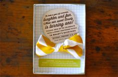 Silhouette and Bow Tie First Birthday Party Invitations | Oh So Beautiful Paper