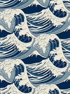Cole & Son Wave Wallpaper has a Hokusai vibe, but would look perfect in even the preppiest of homes.This Cole & Son Wave Wallpaper has a Hokusai vibe, but would look perfect in even the preppiest of homes. Japanese Waves, Japanese Art, Japanese Style, Japanese Wave Tattoos, Japanese Fabric, Japan Design, Cool Wallpaper, Pattern Wallpaper, Wallpaper Ideas