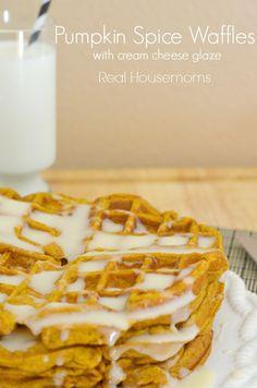 Pumpkin Spice Waffles w/ Cream Cheese Glaze | Real Housemoms | I LOVE pumpkin!!! Bring on Fall!!!!