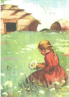 *53797 Martta Wendelin | par marja2006-offers Vintage Pictures, Art Pictures, Sara Kay, Girl Face Drawing, Children's Book Illustration, Book Illustrations, Christmas Art, Vintage Children, Vintage Postcards