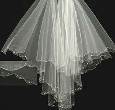 Two Tier Fingertip Veil With A Scalloped beaded Crystal Edge White/Ivory/Diamond White - an198S