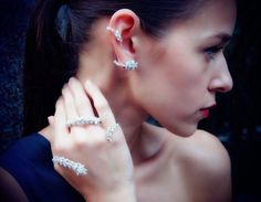 yeprem diamond ring and hand ornment, and ear cuff...