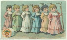 Chadwicks Sewing Thread Victorian Trade Card Girls Hold Cane Household Pets