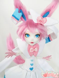 Sylveon Pokemon Custom OOAK monster high Eeveelution doll by Dollightful