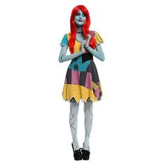 The Nightmare Before Christmas Sally Costume Dress | Hot Topic ($45) ❤ liked on Polyvore featuring costumes, cosplay costumes, christmas costumes, sally costume, sally halloween costume and christmas halloween costume