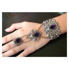 Swarovski Purple Slave Bracelet Gothic Silver Ring Bracelet Slave... ❤ liked on Polyvore featuring jewelry, victorian jewelry, wedding jewelry, silver gothic jewelry, silver jewelry and gothic jewelry