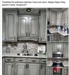 Valspar Aspen Gray With Black Glaze Cabinets Pinterest Aspen - Gray glazed cabinets