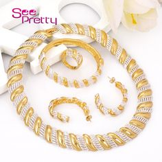 SeePretty A407 2016 African Ladies Costume Wholesale Real Gold Plated Jewelry Fashion Necklace Set