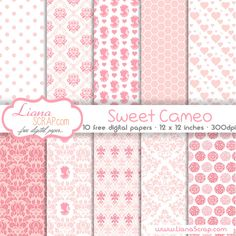 Free digital paper pack – Sweet Cameo Set - http://www.lianascrap.com/free-digital-paper-pack-sweet-cameo-set/