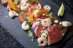 Shrimp Feta and Watermelon Salad with Heirloom Tomatoes -- purple onion, cilantro, feta, lime