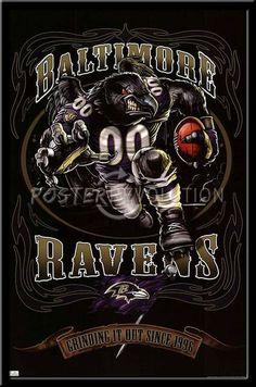 Baltimore Ravens Vintage NFL Poster Grinding It Out Baltimore Ravens Wallpapers, Nfl Baltimore Ravens, Football Themes, Football Art, Football Posters, Football Signs, Raven Logo, All Nfl Teams, Orioles Baseball