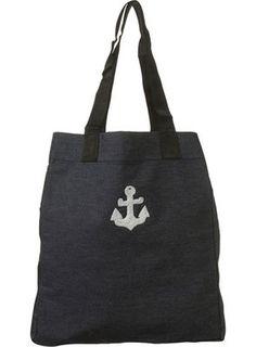 Denim Blue Anchor Shopper Bag