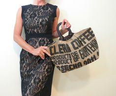 Guatemala borsa di tela, juta frizione nero in legno maniglie, borsa caffè Sack, Upcycled riproposto riciclato