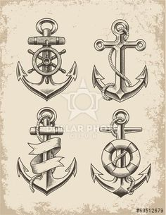Hand Drawn Anchor Set: