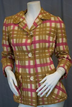 Vintage blazer jacket in pink, beige and tan stripes on white ground by Maisonette Neiman Marcus circa 1960s for $65 from Recursive Chic @ recursivechic.com