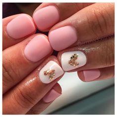 Pink matte Valentine's Day nails