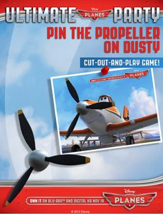 Pin The Propeller On Dusty--Disney Planes Free Printables Disney Planes Birthday, Disney Planes Party, Disney Parties, 4th Birthday Parties, Birthday Fun, Birthday Ideas, Movie Night Party, Airplane Party, Little Girl Birthday