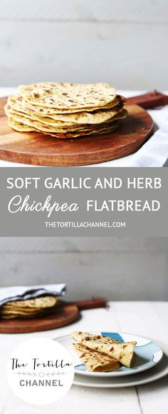 This soft vegan flatbread contains chickpea flower, garlic and herbs. Pin it now so you can use it later or visit the website! #flatbread #tortila #veganrecipes #vegetarianrecipes