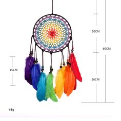 Dream Catcher Colorful Feather Wall Hanging Car Home Decoration Gift Buy Dream Catcher, Feather Dream Catcher, Nature Crafts, Decor Crafts, Dream Catcher Materials, Short Strapless Prom Dresses, Car Interior Decor, Hotel Decor, Colorful Feathers