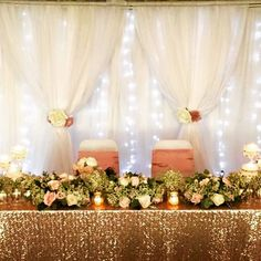 Beautiful head table with backdrop. Flower Decorations, Wedding Decorations, Table Decorations, Sequin Tablecloth, Backdrops, Wedding Flowers, Events, Instagram Posts, Beautiful
