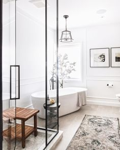 Everything in this bathroom ties together so beautifully; the glass shower, the … Everything in this bathroom ties together so beautifully; the glass shower, the olive tree, and that show-stopping tub. Job well done, Leclair Decor. Bad Inspiration, Bathroom Inspiration, Bathroom Ideas, Bathroom Organization, Bathroom Designs, Bathroom Storage, Bath Ideas, Bathroom Cleaning, Bathroom Inspo