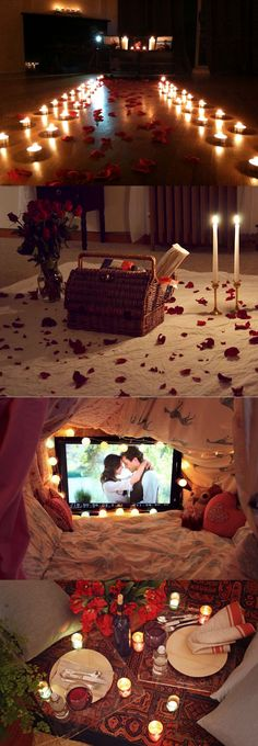Ingredients for the perfect romantic indoor picnic: Roses, candles, blankets, yummy things, and each other!